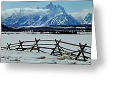 1m9306-grand Tetons From Ranch Country Greeting Card