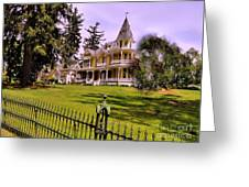 Grand Yellow Victorian And Gate Greeting Card