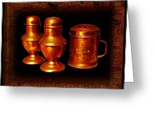 Grandma's Kitchen-copper Salt Pepper  And Flour Shakers Greeting Card