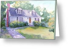 Grandmothers Cottage Watercolor Portrait Greeting Card