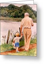 Little Boy And Grandpa In Park Greeting Card
