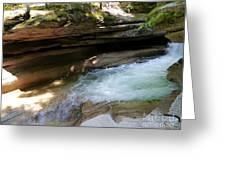 Granite Boulder And Sabbaday Brook Greeting Card