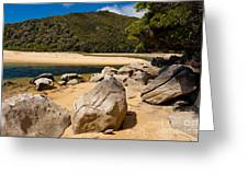 Granite Boulders In Abel Tasman Np New Zealand Greeting Card