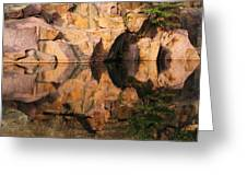 Granite Cliffs And Reflections In A Quarry Lake Greeting Card
