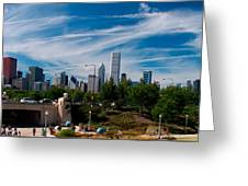 Grant Park Chicago Skyline Panoramic Greeting Card