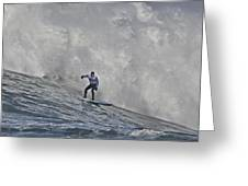 Grant Washburn Racing For His Life At Mavericks Greeting Card