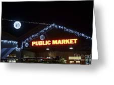 Granville Market Christmas Lights Vancouver Greeting Card