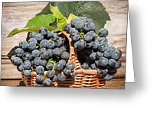 Grapes And Leaves In Basket Greeting Card by Len Romanick