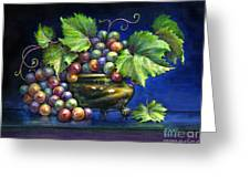 Grapes In A Footed Bowl Greeting Card