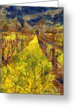 Grapevines And Mustard Greeting Card by Alberta Brown Buller