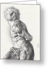 Graphite Drawing Of The Rebellious Slave Sculpture By Michelangelo Buonarotti Greeting Card