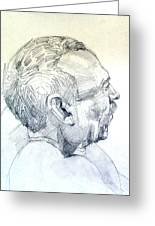 Graphite Portrait Sketch Of A Man In Profile Greeting Card