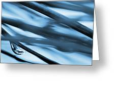 Grass And Raindrop Abstract In Blue Greeting Card