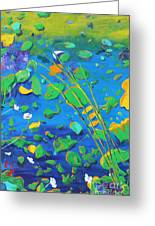 Grass Over Pond Greeting Card