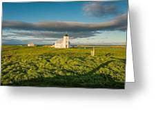 Grasslands And Flatey Church, Flatey Greeting Card
