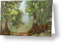 Gratifying Exploring- Sq With Gold Leaf By Vic Mastis Greeting Card