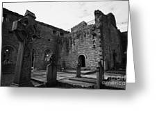 graveyard in the ruins of Cong Abbey county mayo ireland Greeting Card