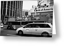 Gray Line New York Sightseeing Bus And Yellow Mpv Taxi Cab On 7th Avenue New York City Greeting Card