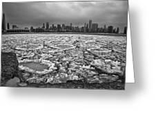 Gray Winter Chicago Skyline Greeting Card