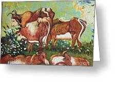 Grazing Cows Greeting Card