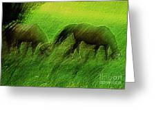 grazing Horses watercolor Greeting Card