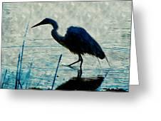 Great Blue Heron Fishing In The Low Lake Waters Greeting Card