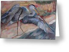 Great Blue Heron Greeting Card by Susan Hanlon