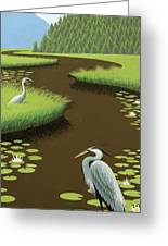 Great Blue Herons On A Lily Pad Pond Greeting Card