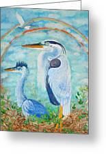 Great Blue Herons Seek Freedom Greeting Card