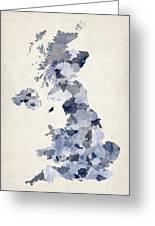 Great Britain Uk Watercolor Map Greeting Card by Michael Tompsett