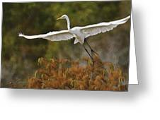 Great Egret Pixelated Greeting Card