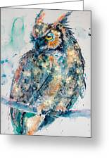 Great Horned Owl In Gold Greeting Card