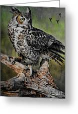 Great Horned Owl On Branch Greeting Card