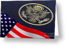 Great Seal Of The United States And American Flag Greeting Card by Olivier Le Queinec