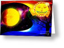 Great Sun Jester And The Night Sky Greeting Card
