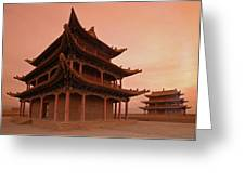 Great Wall Pagoda At Sunset Greeting Card