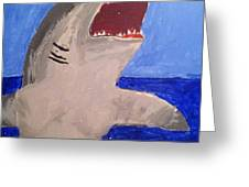Great White Shark Breaching Greeting Card by Fred Hanna