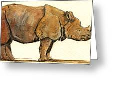 Greated One Horned Rhinoceros Greeting Card