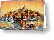 Greek Day - Palette Knife Oil Painting On Canvas By Leonid Afremov Greeting Card