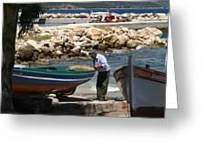 Greek Fisherman Greeting Card