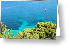 Greek Sea View Greeting Card