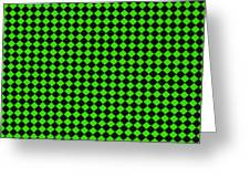 Green And Black Checkered Pattern Cloth Background Greeting Card