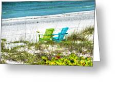 Green And Blue Chairs Greeting Card