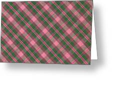Green And Pink Diagonal Plaid Pattern Textile Background Greeting Card