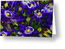 Green And Purple Burst Abstract Greeting Card by James Hammen