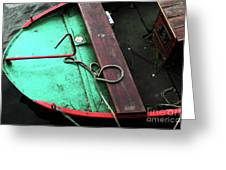Green And Red Boat Greeting Card