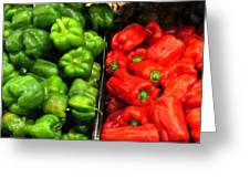 Green And Red Pepper Greeting Card