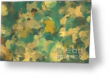 Green And Yellow Round Brush Strokes Greeting Card