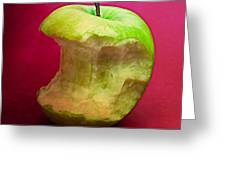 Green Apple Nibbled 8 Greeting Card