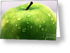 Green Apple Top Greeting Card by John Rizzuto